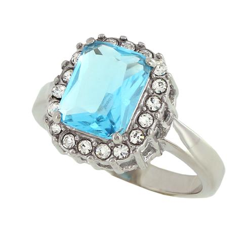 Свадьба - Arctic Frost - Cushion-Cut Aquamarine CZ Elegant Design Engagement Ring with Multiple Cubic Zirconia's