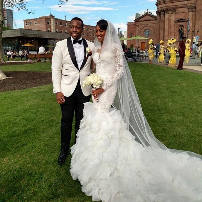 Nozze - 2017 Delicate Lace Appliques Mermaid Ruffles Long-Train Wedding Dress