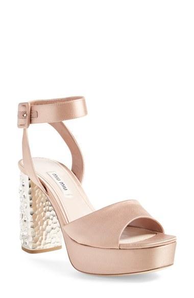 Hochzeit - Miu Miu Studded Block Heel Platform Sandal (Women) (Nordstrom Exclusive)