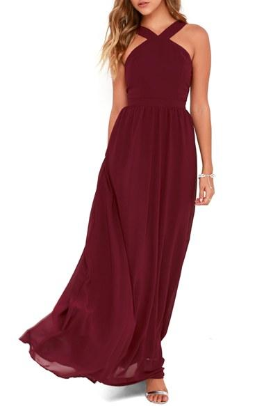 85b46d984824 Bridesmaid - Lulus Cross Neck A-Line Chiffon Gown #2622078 - Weddbook