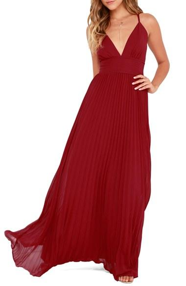 9a3dce0c7c75 Lulus Plunging V-Neck Pleat Georgette Gown #2622079 - Weddbook