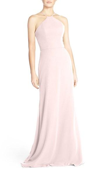 Wedding - Hayley Paige Occasions Strappy V-Back Chiffon Halter Gown