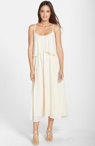 Mariage - Paper Crown by Lauren Conrad 'Britton' Ruffled Tea Length Crepe Dress