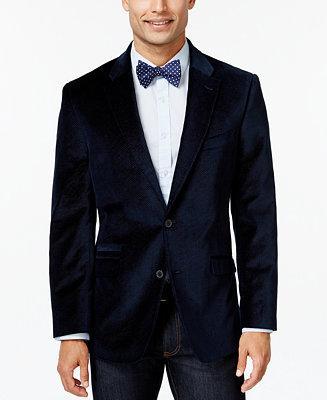 Hochzeit - Tommy Hilfiger Tommy Hilfiger Blue Pindot Velvet Slim-Fit Sport Coat
