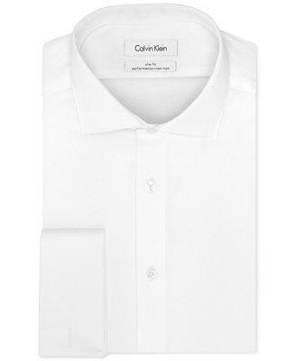 Hochzeit - Calvin Klein STEEL Men's Slim-Fit Non-Iron Performance Solid French Cuff Dress Shirt