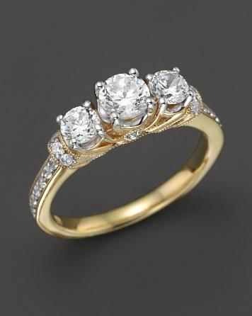 Свадьба - Bloomingdale's Diamond 3-Stone Ring with Pavé Sides in 18K Yellow Gold, 1.0 ct. t.w.