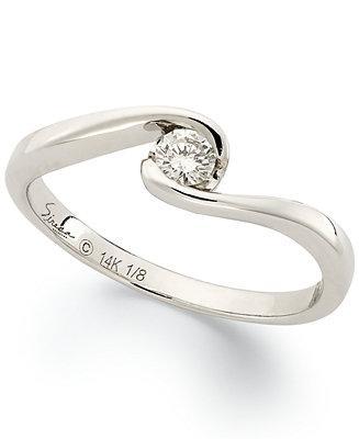 Свадьба - Sirena Sirena Diamond Engagement Ring in 14k White Gold (1/8 ct. t.w.)