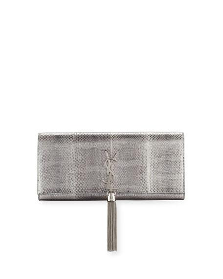 Свадьба - Kate Monogram Tassel Clutch Bag, Silver