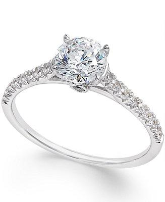 Mariage - Macy's Certified Diamond Engagement Ring (1 ct. t.w.) in 14k White Gold