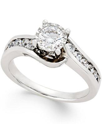 Mariage - TruMiracle TruMiracle® Diamond Swirl Bypass Engagement Ring (1 ct.t.w.) in 14k White Gold