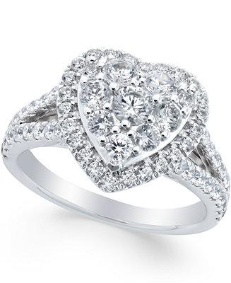 Mariage - Macy's Diamond Heart Engagement Ring (1-1/2 ct. t.w.) in 14k White Gold
