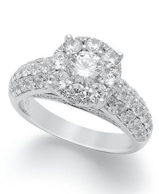 Mariage - Macy's Diamond Engagement Ring in 14k White Gold (2 ct. t.w.)
