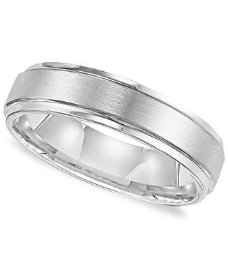 Wedding - Triton Triton Men's White Tungsten Carbide Ring, Comfort Fit Wedding Band (6mm)