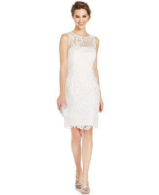 Adrianna papell illusion lace sheath dress