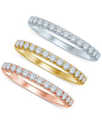 Hochzeit - Macy's Diamond Tri-Color Stackable Bands