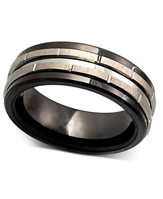Wedding - Men's Tungsten Ring, Black Ceramic Tungsten Design Ring