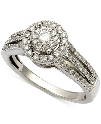 Hochzeit - Macy's Diamond Halo Cluster Engagment Ring (3/4 ct. t.w.) in 14k White Gold