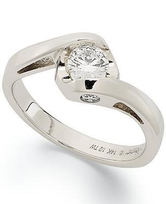 Hochzeit - Sirena Sirena Diamond Engagement Ring in 14k White Gold (1/2 ct. t.w.)