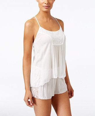 Mariage - Linea Donatella Linea Donatella Flower Child Sheer Lace-Trim Pajama Set
