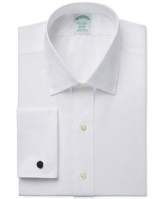 Wedding - Brooks Brothers Brooks Brothers Milano Extra-Slim Fit Non-Iron White Solid French Cuff Dress Shirt