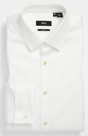 Düğün - BOSS 'Jameson' Slim Fit Diamond Weave French Cuff Tuxedo Shirt