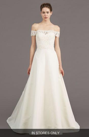 Mariage - Amsale Tilden Lace & Silk Blend Gown (In Stores Only)