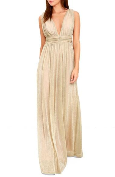 Mariage - Lulus Plunging Neck Metallic Gown