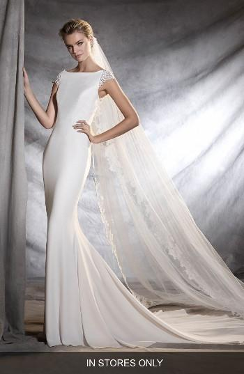 Свадьба - Pronovias Olbia Cap Sleeve Lace Back Crepe Mermaid Gown (In Stores Only)