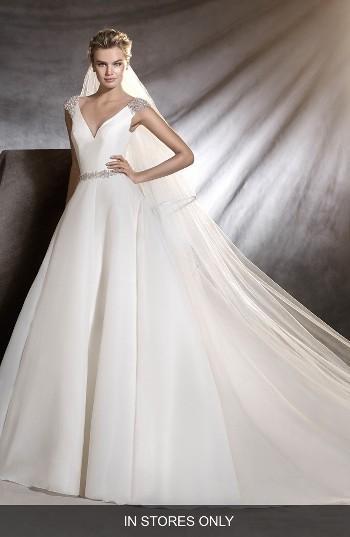 زفاف - Pronovias Ovidia Beaded Cap Sleeve Organza Ballgown (In Stores Only)