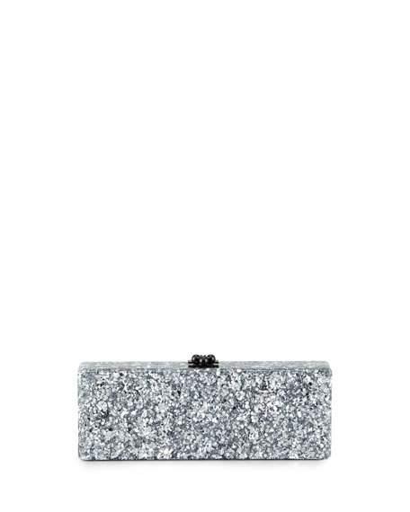 Düğün - Flavia Confetti Acrylic Clutch Bag, Silver