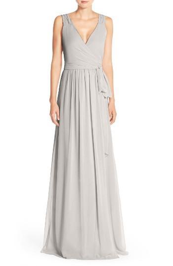 Wedding - CeremonybyJoanna August'Newbury' Gathered Sleeve Chiffon Wrap Gown