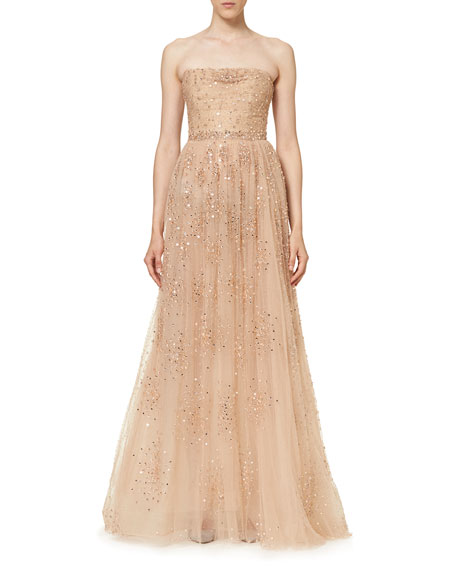 Свадьба - Star-Embellished Strapless Gown, Nude