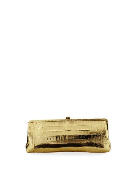 Mariage - Crocodile Slim Frame Clutch Bag, Gold Mirror