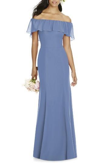 Mariage - Social Bridesmaids Ruffle Off the Shoulder Chiffon Gown