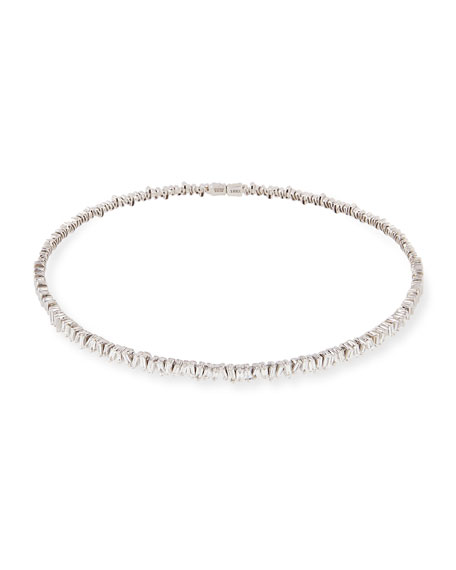 Wedding - 18K White Gold Diamond Baguette Choker Necklace, 3.0 tdcw