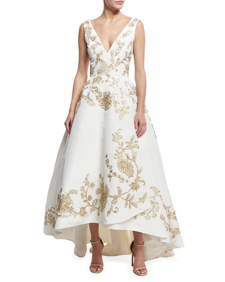 Mariage - Embroidered Silk Faille High-Low Gown, White