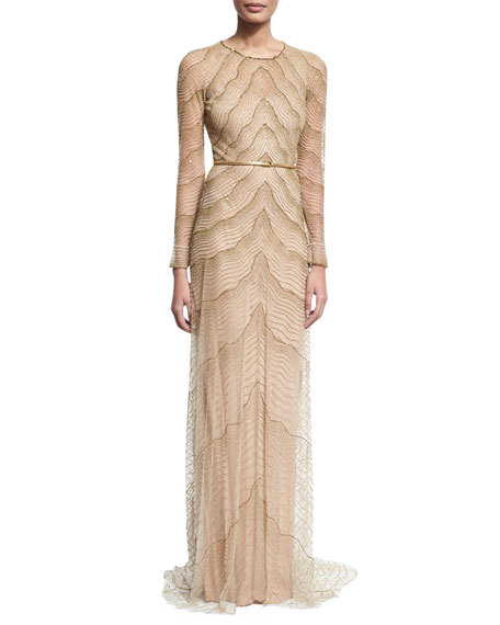 Свадьба - Beaded Illusion Long-Sleeve Gown, White/Gold