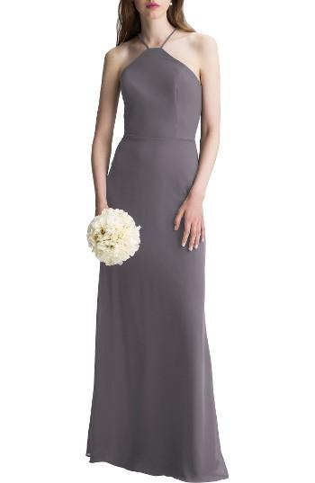 Mariage - High Neck Chiffon A-Line Gown