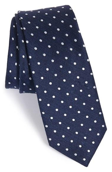 Wedding - The Tie Bar Dot Silk & Linen Tie