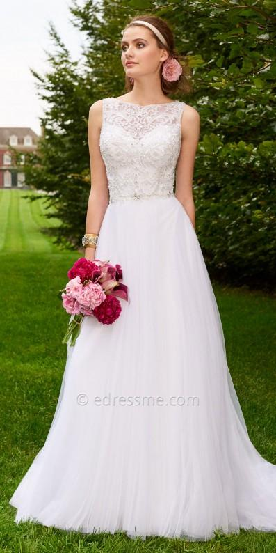 زفاف - Beaded Illusion Pleated Tulle Skirt Wedding Dress By Camille La Vie