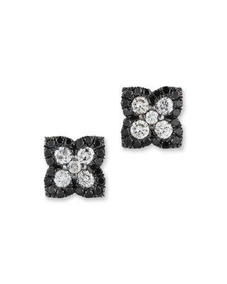 Mariage - Bloomingdale's Black and White Diamond Clover Stud Earrings in 14K White Gold