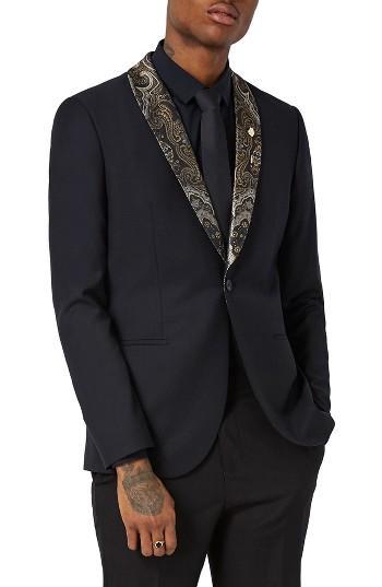 Wedding - Topman Skinny Fit Tuxedo Jacket with Paisley Shawl Lapel