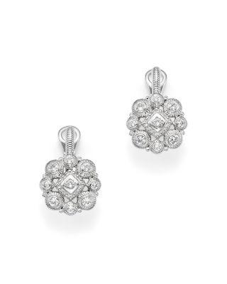 Mariage - Judith Ripka Sterling Silver La Petite Snowflake Cluster Earrings with White Sapphire