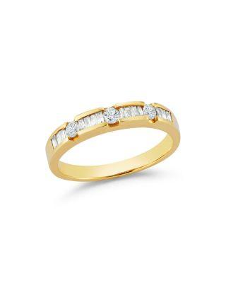 Hochzeit - Bloomingdale's Diamond Round and Baguette Band in 14K Yellow Gold, .35 ct. t.w.