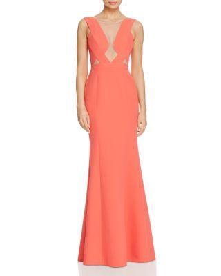 Düğün - BCBGMAXAZRIA Mesh Bodice Cutout Gown