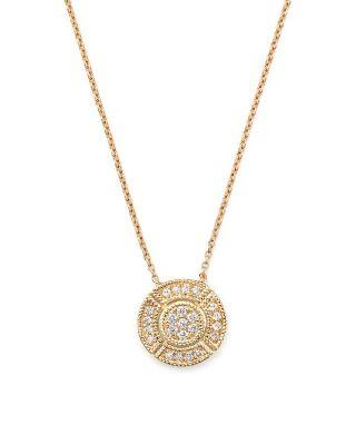 زفاف - Dana Rebecca Designs 14K Rose Gold Jemma Morgan Circle Pendant Necklace with Diamonds, 16""