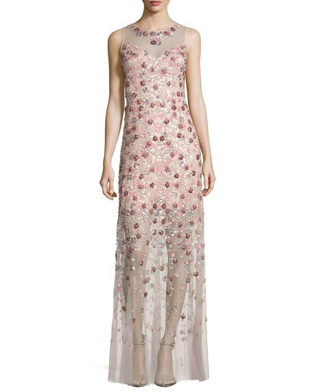 Свадьба - Sleeveless Embellished Floral Georgette Column Gown, Pink