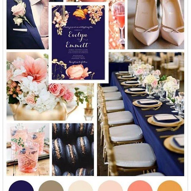 Navy champagne wedding