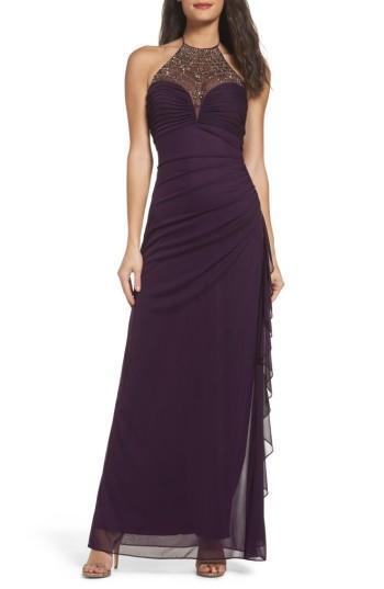 Hochzeit - Blondie Nights Embellished Halter Gown