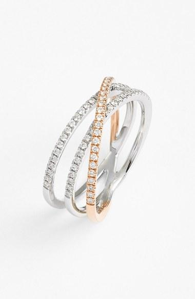 Hochzeit - Bony Levy Crossover Three-Row Diamond Ring (Nordstrom Exclusive)